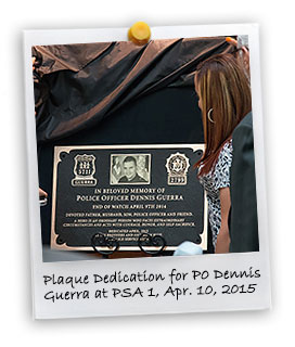 Plaque Dedication of PO Dennis Guerra at PSA 1 (4/10/2015)