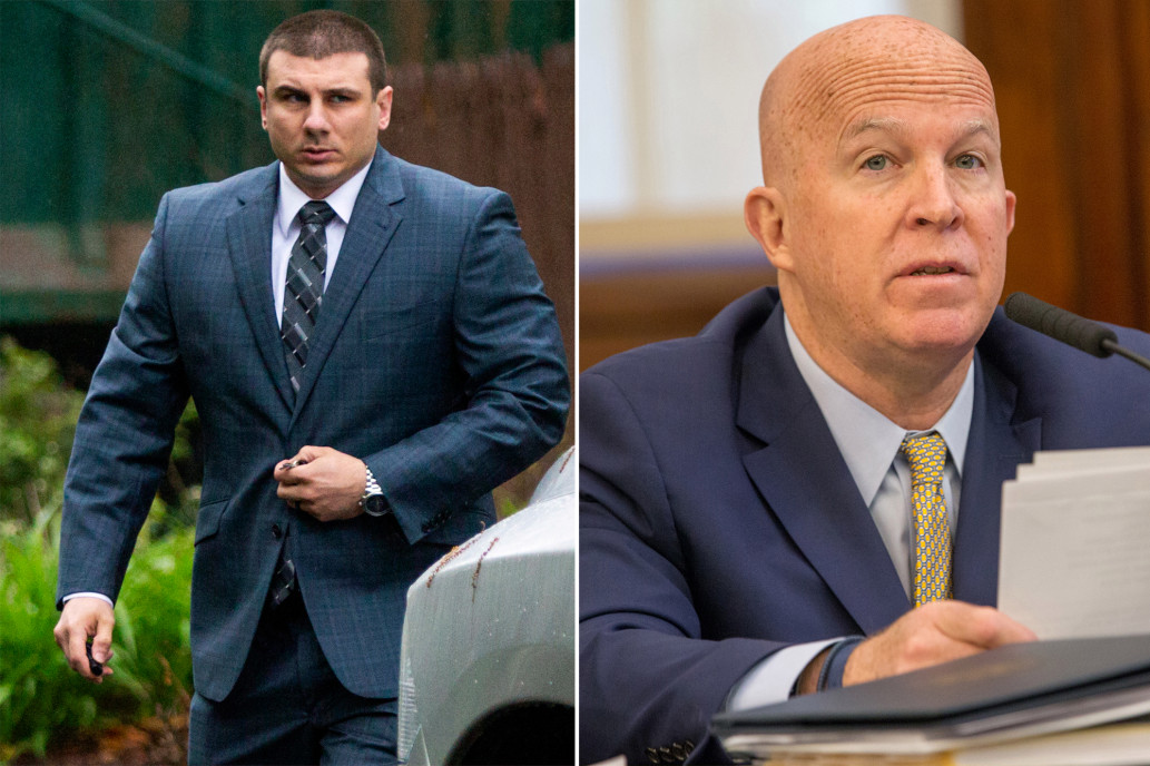 Left: Daniel Pantaleo; Right: NYPD Commissioner James O'Neill (AP; William Farrington)