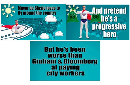Mayor de Blasio loves to fly around the country and pretend he's a progressive hero, but he's been worse than Giuliani and Bloomberg at paying city workers